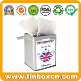 يدار مربّعة [إنغليش] شاي قصدير علبة لأنّ معدن [تا كدّي]