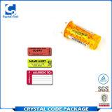 Escrituras de la etiqueta modificadas para requisitos particulares de las etiquetas engomadas del suministro médico de la impresión