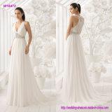 Beaux dos et courroie avec des pierres une ligne robe de mariage avec l'automne de légèreté de la gaze de la soie