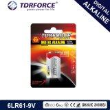 batería alcalina no recargable de la pila seca 6lr61-9V de 9V Digitaces para la alarma de humo