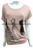 Ladies Loose Princess Dress Impressão T-shirt com fita