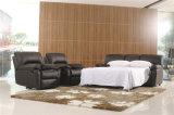 Sofá de la sala de estar con el sofá moderno del cuero genuino fijado (396)