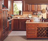 A cozinha de madeira da mobília da cozinha do estilo europeu Home da mobília/Faucet da cozinha bate o gabinete de cozinha da mobília e da madeira contínua da tradição da bancada da cozinha
