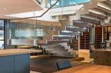 Escadas modernas do aço inoxidável do ziguezague/escadaria de vidro de aço com os trilhos do vidro Tempered