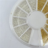 De privé Stickers van de Kaviaar van de Kunst van de Spijker van de Decoratie van de Parel van de Cirkel van het Witgoud DIY van het Etiket 3D Uiterst kleine