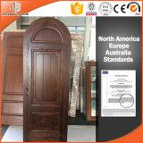 Madeira de pinho maciço Round-Top Porta de dobradiça personalizada porta de madeira interior, porta de dobradiça de madeira Rount-Top bonita