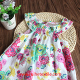 Cute Sleeveless Water Print Flower Dress per Girl