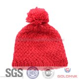 Jaquared Knitted Hat das mulheres com Pompom