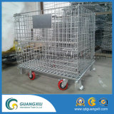 Faltender stapelbarer Maschendraht-Metallvorratsbehälter mit Rädern
