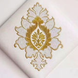 Tela del cuero de la tapicería Semi-PU con la flor del bordado del estilo chino para el papel pintado, almohadilla suave