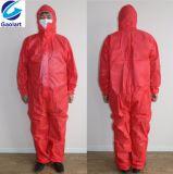 100% pp. SMS nichtgewebtes Gewebe-Wegwerfoverall/schützendes Kleid
