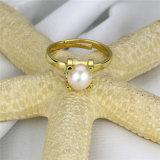 금은 925 순은 민물 진주 반지를 도금했다