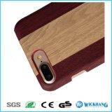 Cas en bois de dos de cuir de configuration pour l'iPhone 6/6 positifs/6s/6s plus
