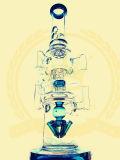 El vidrio de cristal del cenicero del arte del tabaco de la corona T14 del reciclador del tazón de fuente alto azul del color transmite el tubo de agua de cristal de la burbuja embriagadora del cubilete