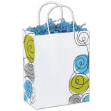 Ennegrecer hacia fuera el bolso impreso mini insignia del regalo del papel de la marca de fábrica de los compradores del bolso de la Mod por encargo para las compras
