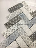Weißes Tintenstrahl-Drucken-Herringbone Glasmosaik-Fliese