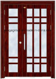 Puerta de acero del metal de la seguridad exterior de madera del color de la alta calidad (W-S-147)