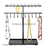 Estante de visualización ajustable del organizador de la joyería del collar/de la pulsera del metal 30-Hook del negro de la altura