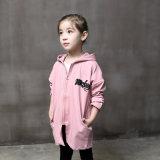 Втулка девушок розовая длинняя с пальто кардигана клобука