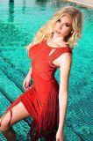 Платье партии повязки Tassles изготовленный на заказ высокия стандарта красное сексуальное