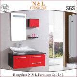 Mobilier de salle de bain en PVC rouge et noir