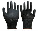 13G de zwarte sneed de Bestand Met een laag bedekte Handschoen van het Werk van de Veiligheid met Zwart Pu