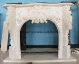 Camini di pietra naturali di disegno popolare con marmo bianco/beige