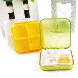 Caixa plástica do comprimido do negócio de 4 compartimentos para a medicina do armazenamento