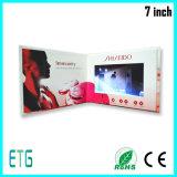 Folheto video LCD de 7 polegadas que anuncia o cartão