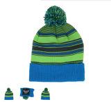 O OEM personalizou o tampão feito malha punho do chapéu do Beanie do bordado POM POM