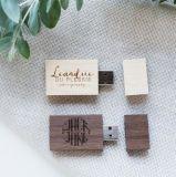 Lecteur flash fait sur commande de carte mémoire Memory Stick en bois USB 2.0 de photographie de logo