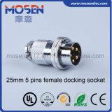 Df25-5 25m m conector femenino del panel del cable del socket del muelle de 5 contactos