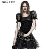 Punk Rave Lolita Style Lt008のパフ・スリーブの肩パッドの網の不足分のTシャツ