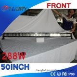 Curva de 50 pulgadas 288W LED de trabajo de la barra ligera campo a través 4WD