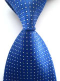 New Classic Pattern Black Blue Silver Jacquard Woven Necktie (A782)