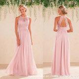 2017 платьев вечера P61801 Bridesmaid розового шнурка платьев выпускного вечера шифоновых