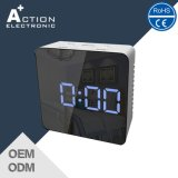 Mirror Square Table Digital Clock com luz LED
