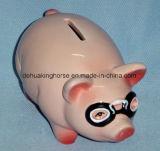 Divertido Banco de cerámica Piggy con los vidrios