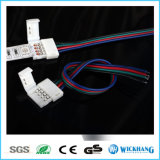 5050 RGB LEDの滑走路端燈のための10mm 4pin Solderlessのコネクターケーブル