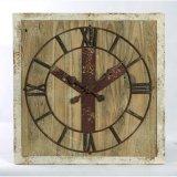 قديم صناعيّة أسلوب مربّع شكل ساعة خشبيّة