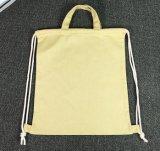 Sac à dos de cordon de toile de coton avec les traitements et la courroie épaisse de pp