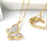 美しい女性の宝石類の方法ステンレス鋼のダイヤモンドの蝶ペンダントのネックレス