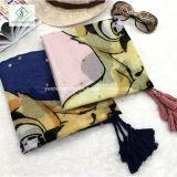 Новая длинняя повелительница Способ Шарф Printed шали хлопка с Tassel
