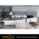 Armadi da cucina bianchi operati su ordinazione con le mensole aperte variopinte e l'isola Tivo-0215h