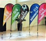 Uso promozionale della bandierina della piuma del poliestere che fa pubblicità al basamento esterno della bandiera della bandierina di spiaggia di volo di evento di mostra, bandierina del Teardrop