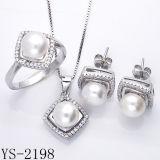 Родий перлы свежей воды стерлингового серебра Hotsale установленный вымощает комплект CZ