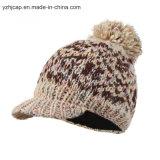 ジャカード帽子のカスタムニットの帽子POMのPOMによって編まれる帽子の帽子