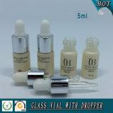5ml cilindro de aceite esencial de cristal Vial con cuentagotas de goma