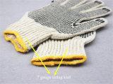 le double de Knit de la chaîne de caractères 7g a dégrossi le coton Glove-2417 tricoté par gant de gant pointillé par PVC