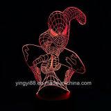 La luz multicolora del vector del cambio del hombre araña 3D de los superventas, lámpara casera de acrílico de la decoración 3D